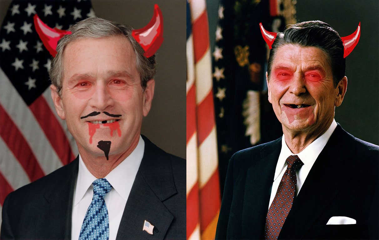 This is an image of George W. Bush and Ronald Reagan with devil-related things painted on their faces.